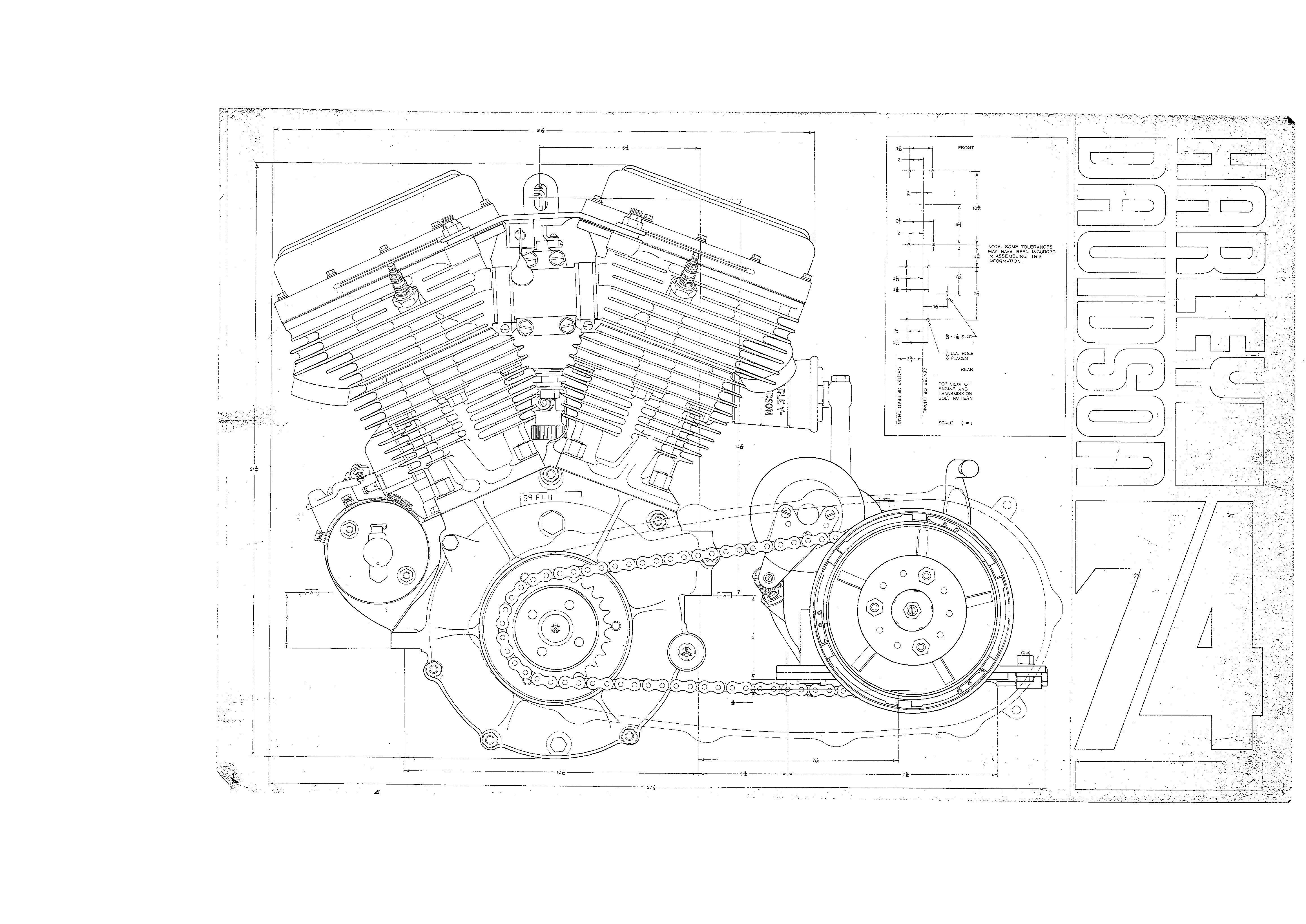 blueprints of engine transmission and frame the panhead motor left image