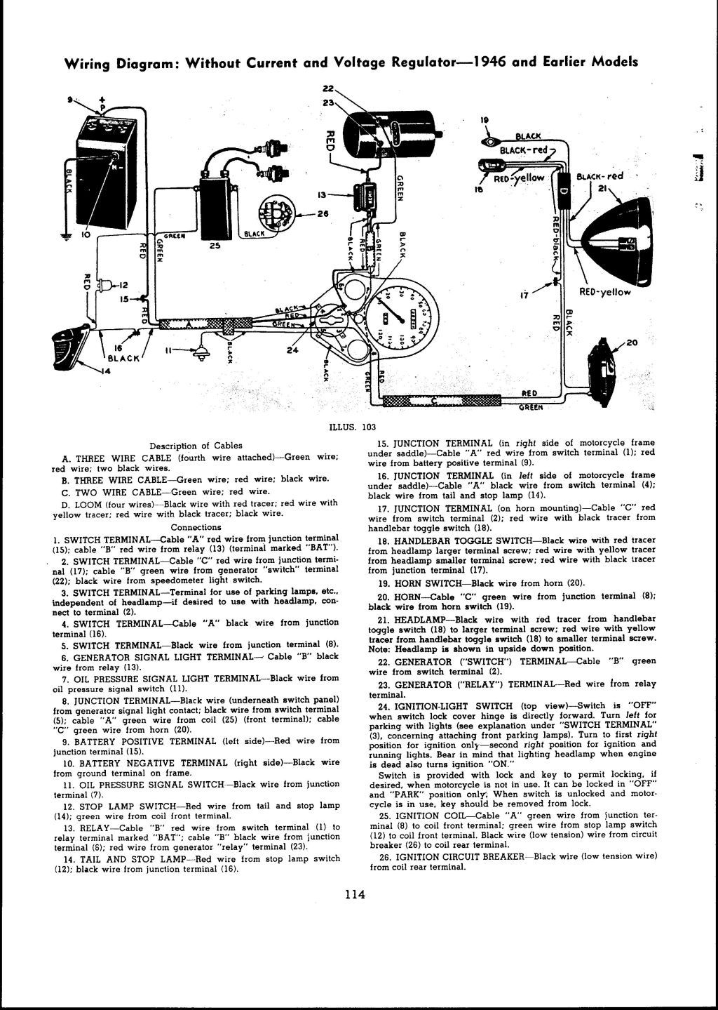 1946 and earlier models Wiring diagram: With current and ... Knucklehead Wiring Diagram on smart car diagrams, electronic circuit diagrams, lighting diagrams, honda motorcycle repair diagrams, switch diagrams, electrical diagrams, internet of things diagrams, battery diagrams, series and parallel circuits diagrams, transformer diagrams, led circuit diagrams, troubleshooting diagrams, pinout diagrams, hvac diagrams, engine diagrams, friendship bracelet diagrams, sincgars radio configurations diagrams, gmc fuse box diagrams, motor diagrams,