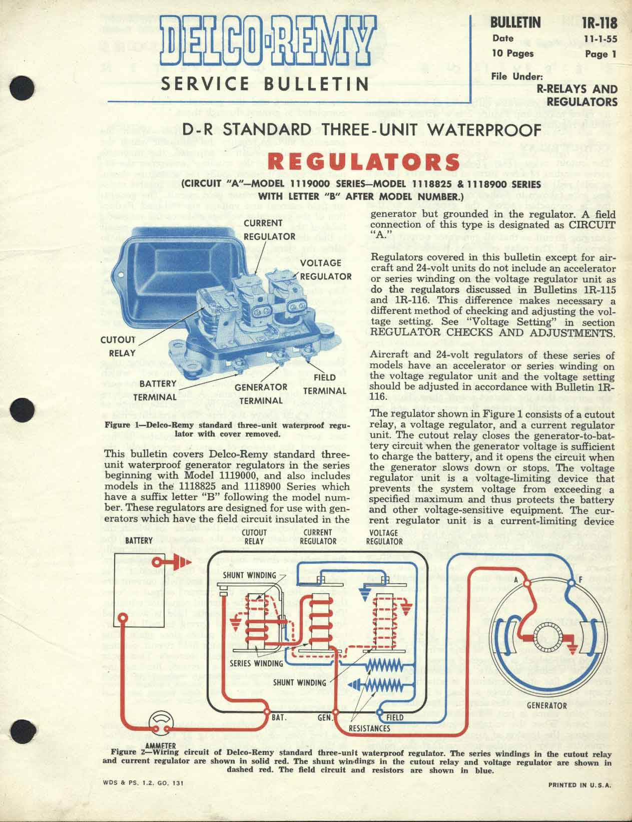 [SCHEMATICS_48EU]  Delco-Remy Bulletin No. 1R-118 Standard type three unit waterproof regulator | Delco Remy Regulator Wiring Diagram |  | Panhead and Flathead site